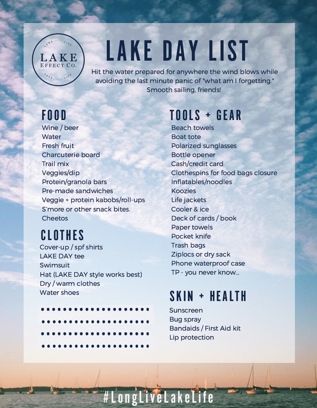 LAKE DAY Packing List | Lake Life | Boat accessories