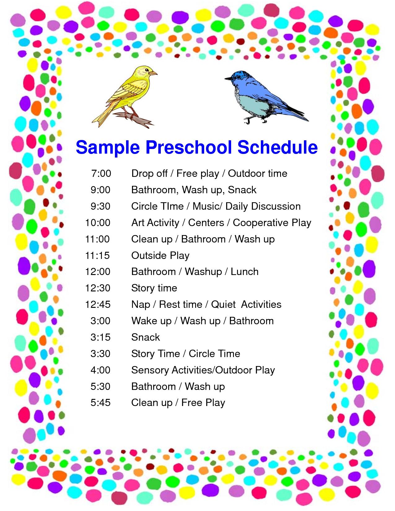 Schedule Preschool Sample