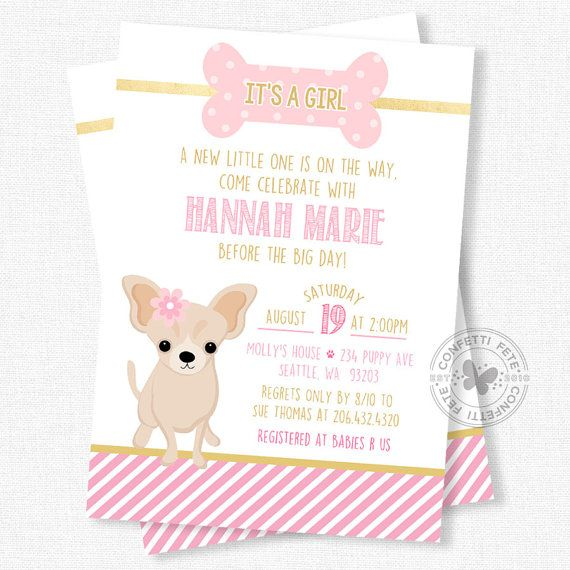 Dog baby shower invitation baby girl shower invitation puppy puppy baby shower invitations baby girl shower invitation dog baby shower invitation chihuahua invitation pink and gold filmwisefo