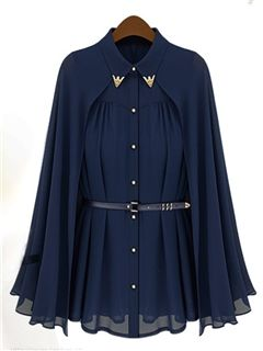 Ericdress Pleated Lapel Belt Cape Sleeve Blouse