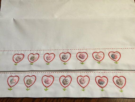 Valentine Present. Hand Made. Pillowcase set. by AnniesUPAttic