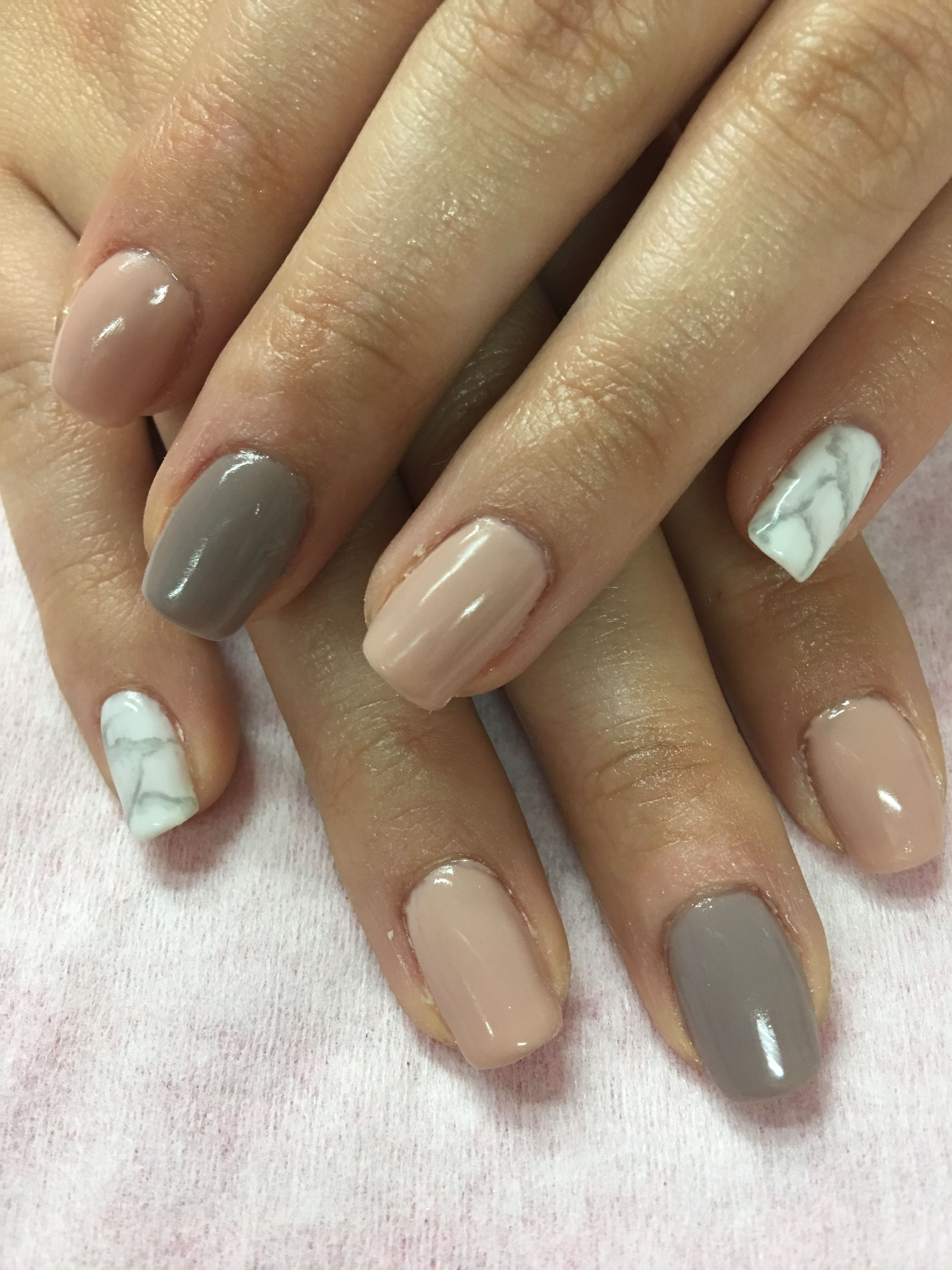 Nude Taupe Marble Gel Nails