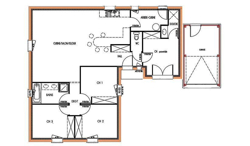 plan de maison t5 plain pied