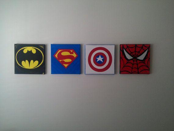 Custom Order 4 Pc Canvas Wall Art 12 X 12: The Superheroes, Comic Book