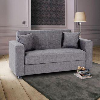 Canape 2 Places Tissu Coussins Coffre De Rangement Theodore Sofa Gris Claro Sofas Grises Sofa