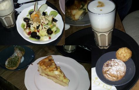 """Das Perfetto Caffé - mein Lieblings-Cafe. Das gemütliche Ambiente ist perfekt, um sich Nachmittags mit Freunden zu treffen. Hier eine Auswahl an köstlichen Kleinigkeiten; Obstsalat mit Joghurt, Honig & Nüssen, darunter """"cannolo siciliano"""" (traditionelles Sizilianisches Gebäck) & eine Apfel Tarte, rechts ein Latte Macchiato, ein """"biscotto mandolo"""" (Mandelplätzchen mit Marzipan) & ein """"biscotto perfetto"""" (Nuss-Teilchen) =)"""