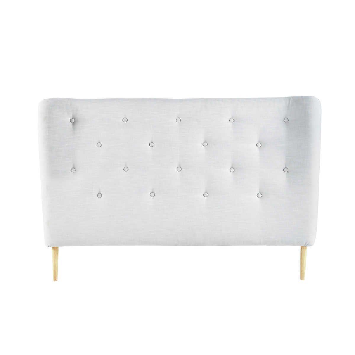 Schon Gestepptes Bett Kopfteil Im Vintage Stil Aus Stoff, B 160 Cm, Grau