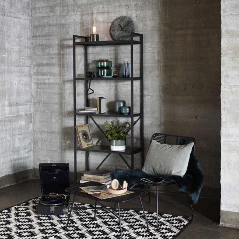 Etagère à poser en métal et verre trempé imitation marbre noir