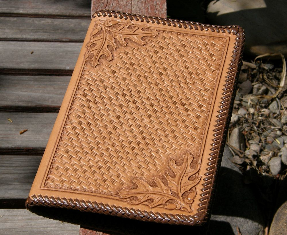 Basket Weaving Books Free : Oak leaf and basket weave carved leather notebook by