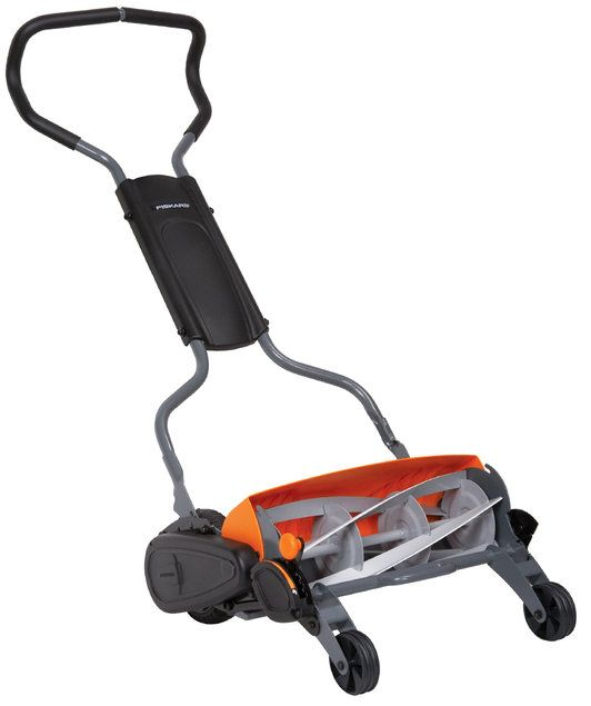 momentum reel mower by fiskars looks like it brings the old fashioned reel mower into the 21st. Black Bedroom Furniture Sets. Home Design Ideas