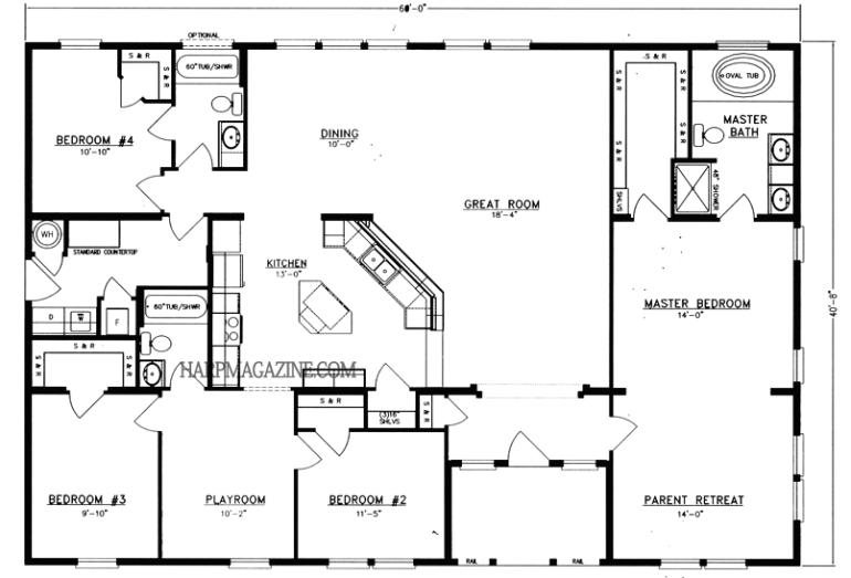 Barndominium Floor Plans 40'X60′ 2400 Sq. Ft. 5 Bed 2 Bath