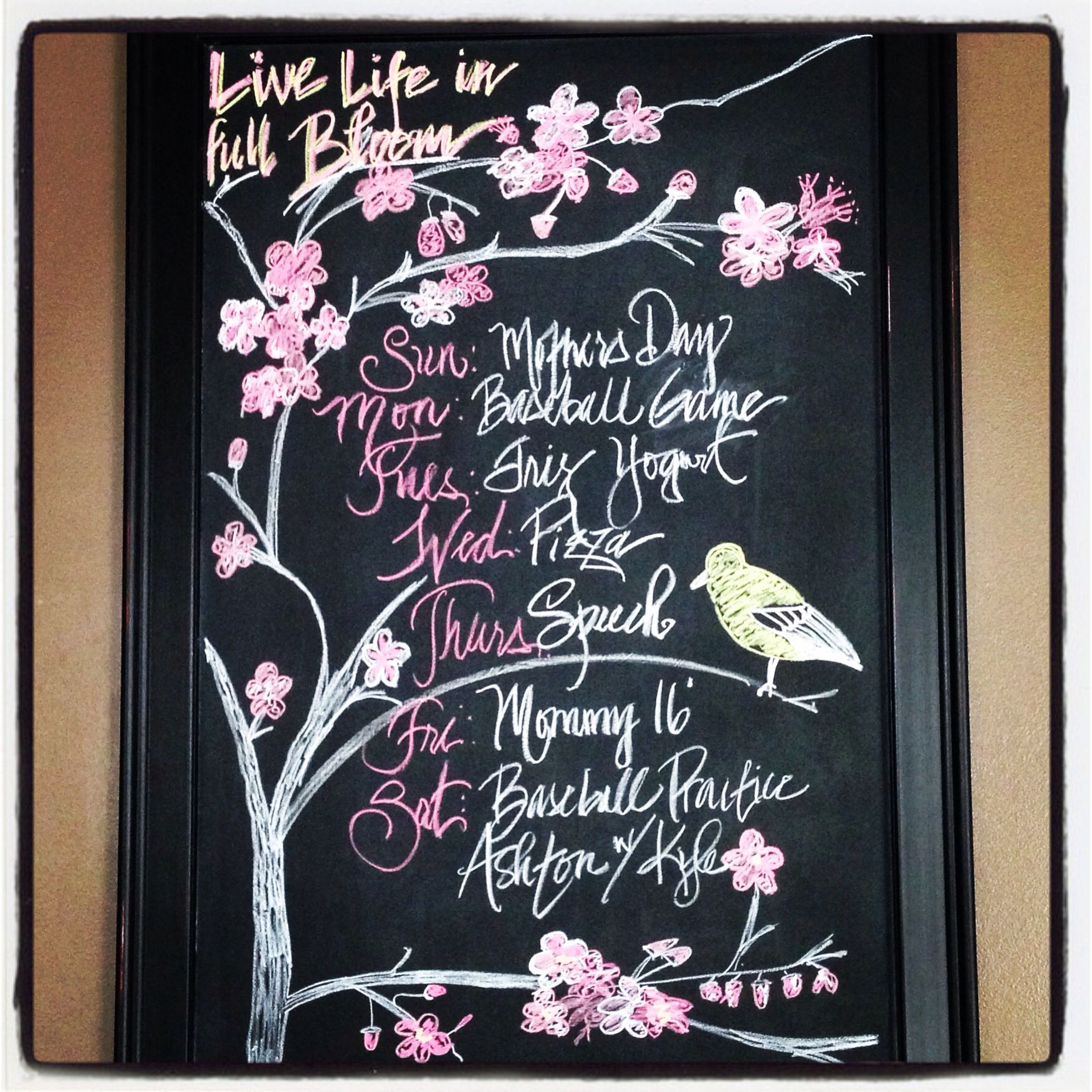November Chalkboard Calendar Ideas : May chalkboard live life in full bloom weekly