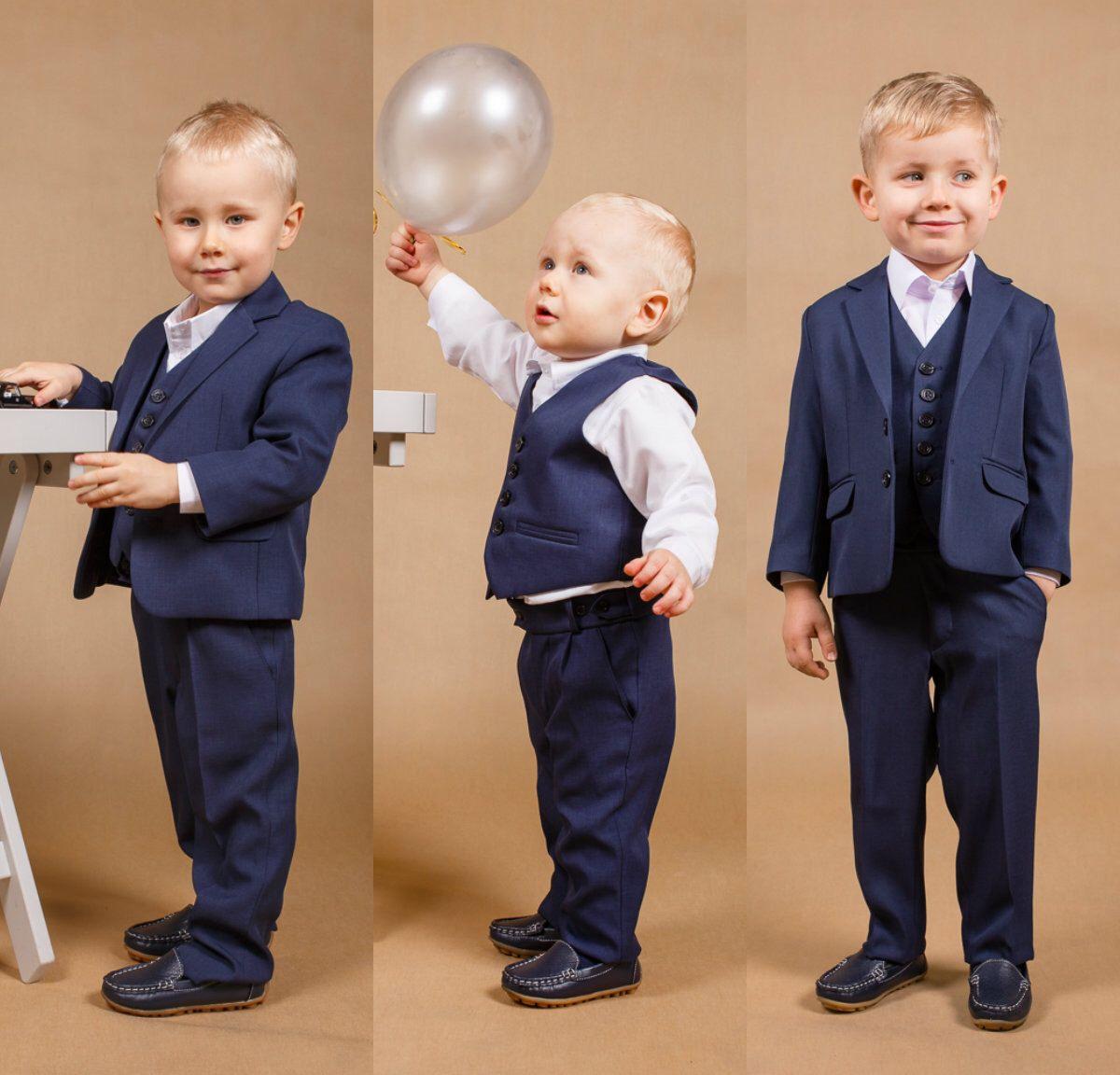 4 pcs.suit Communion suit Ring bearer suit Navy boy suit First ...