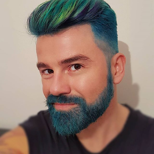 It S Not Easy Being Green Blue Purple Well You Get The Idea Flipping Love The New Hair And Beard Thanks Stevenaus Men Hair Color Hair Inspiration Hair