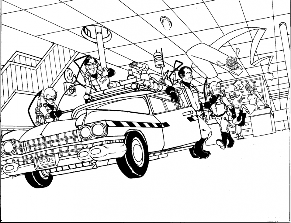 Ghostbusters And Ecto 1 Coloring Page Coloriage Coloriage