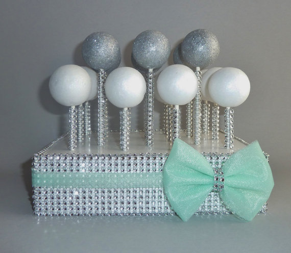 Mint Cake Pop Stand Gray Silver Rhinestone Bling Stick