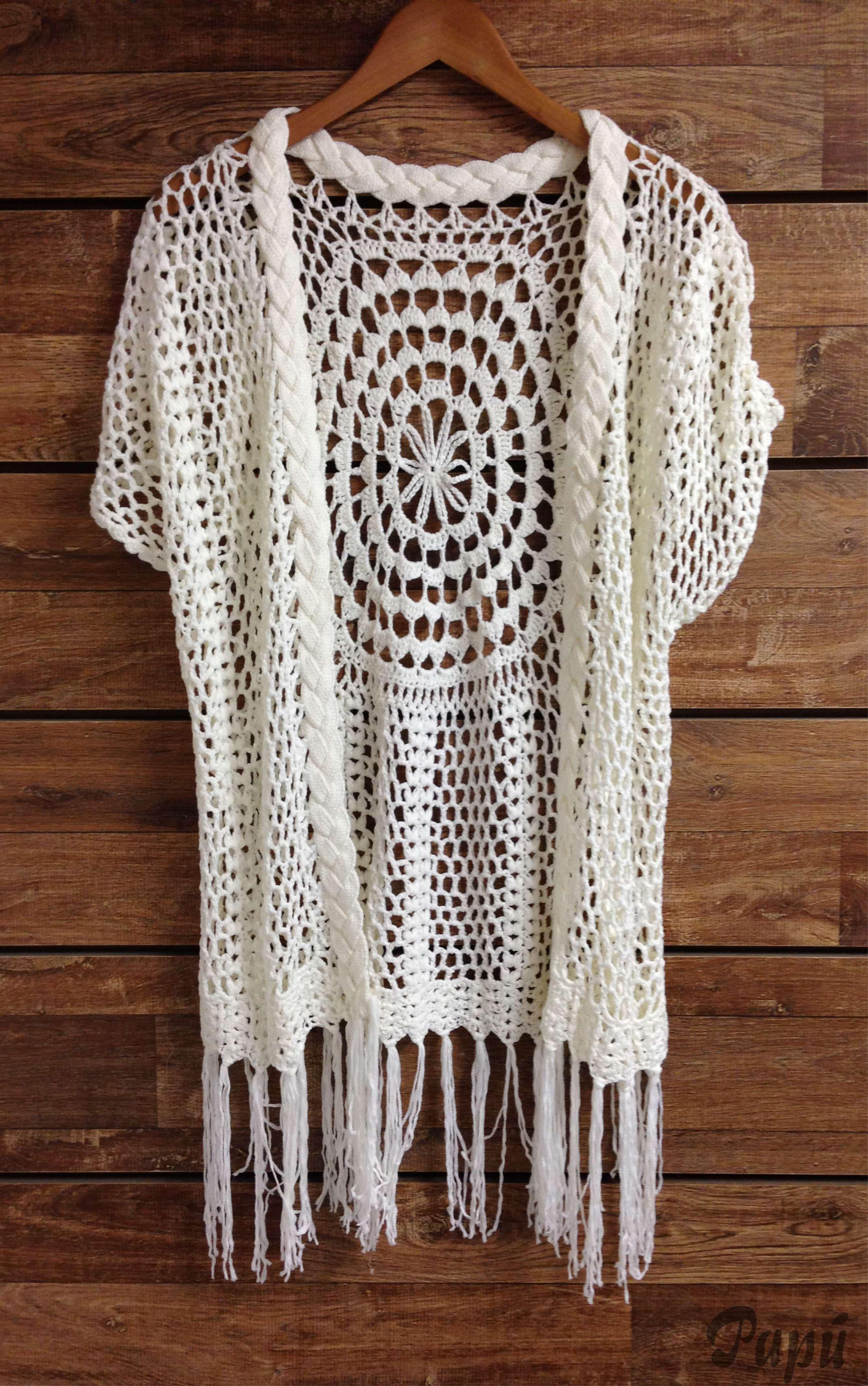 07abfe42e Kimono Boho tricot-crochet | Crochet clothing | Kimono de crochê ...
