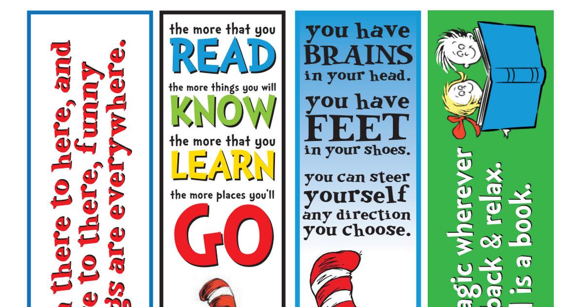Free Printable Dr. Seuss Bookmarks   Kids   Kindergarten teachers ...