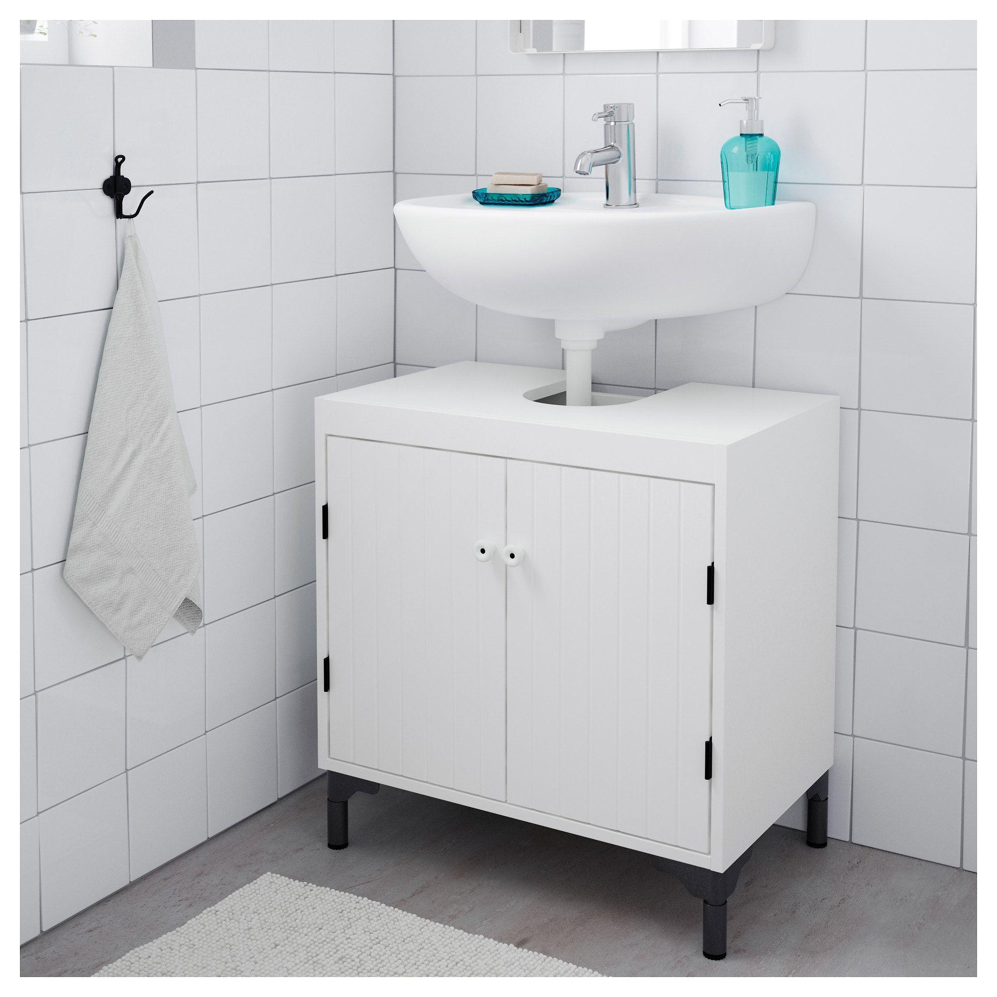SILVERÅN Wash-basin base cabinet w 2 doors White IKEA ...