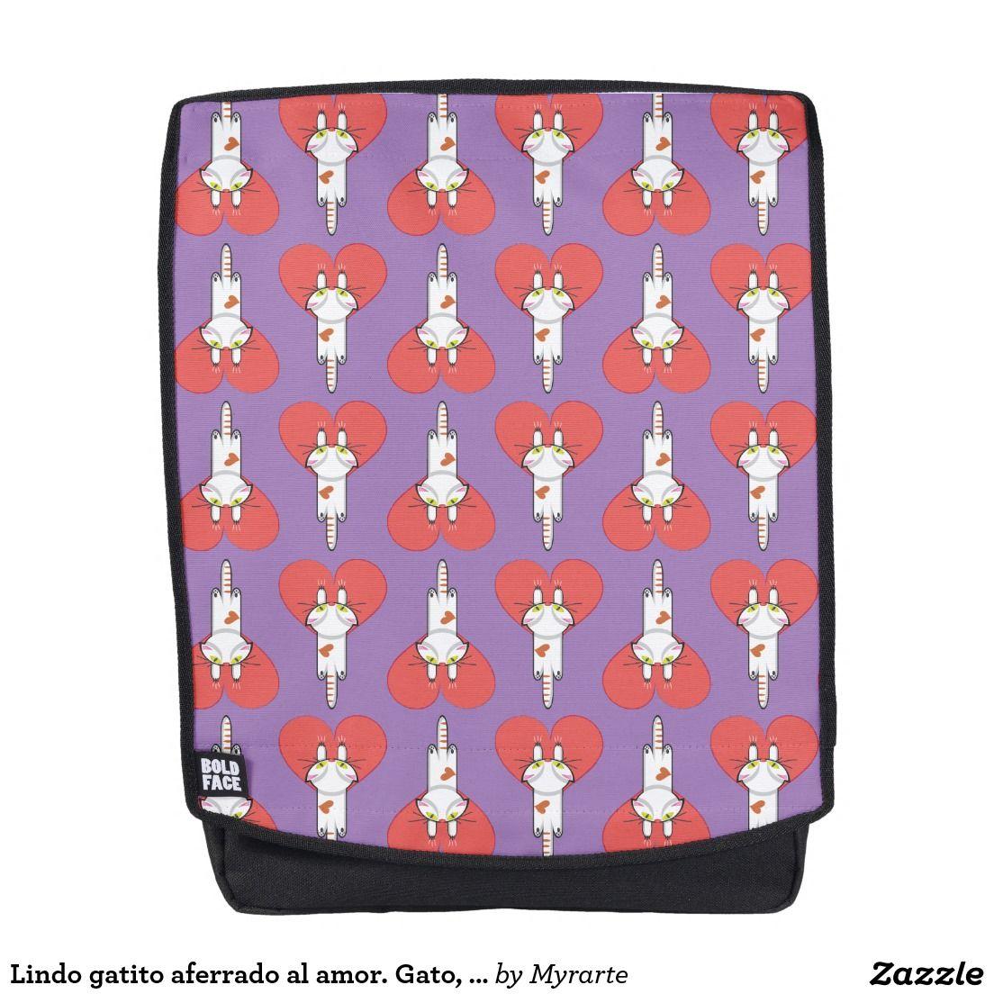 Lindo gatito aferrado al amor. Gato, cat, kitten. Producto disponible en tienda Zazzle. Accesorios, moda. Product available in Zazzle store. Fashion Accessories. Regalos, Gifts. Link to product: http://www.zazzle.com/lindo_gatito_aferrado_al_amor_gato_cat_kitten_backpack-256701675471627094?CMPN=shareicon&lang=en&social=true&rf=238167879144476949 #mochila #backpack #gato #cat #kitten