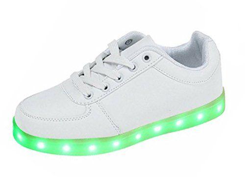 SMITHROAD Unisex 7 Farbe Farbwechsel USB Aufladen LED Leuchtend Sport Schuhe Sneaker Turnschuhe für Damen Herren Jungen Mädchen