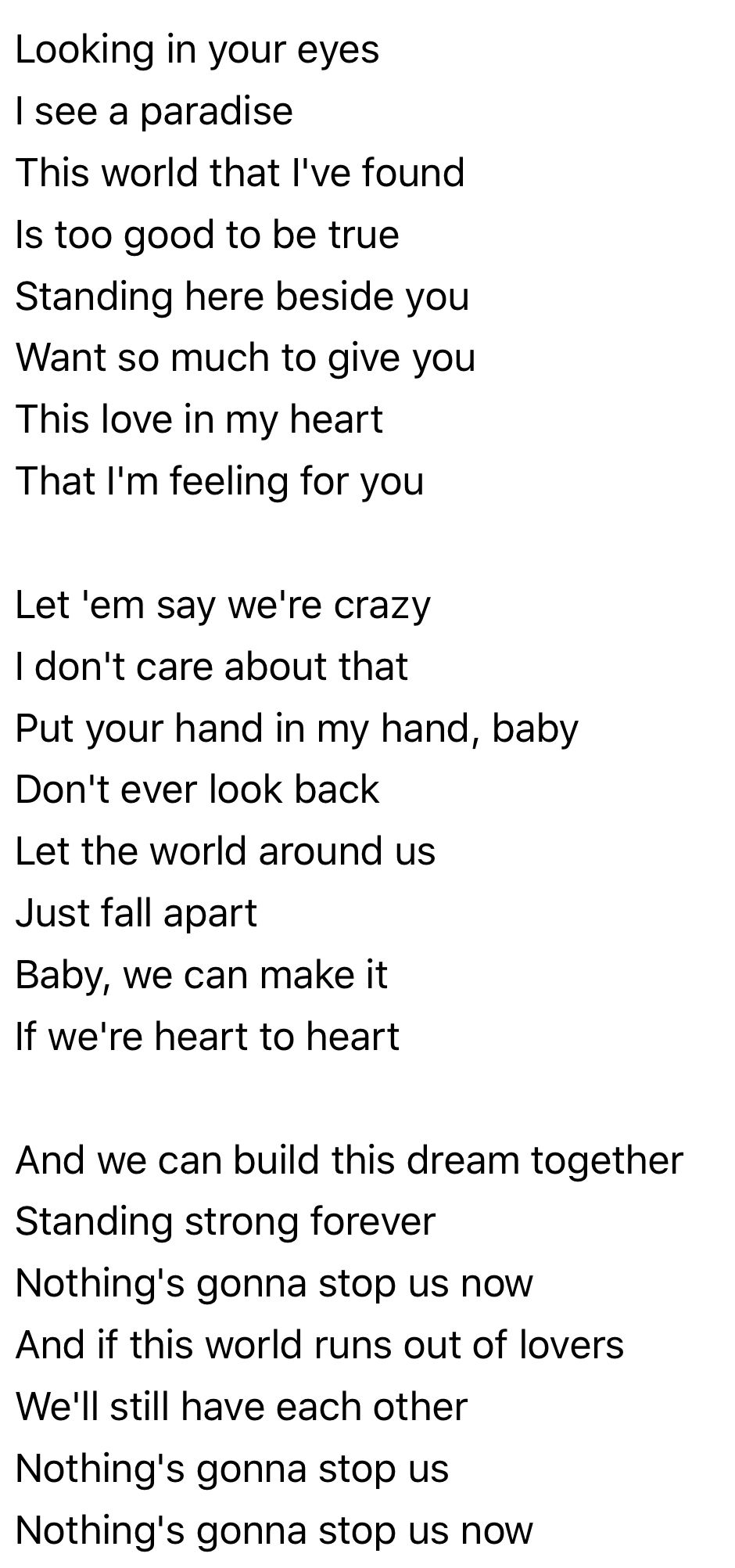 Nothing S Gonna Stop Us Starship Unforgettable Song Words Lyrics Meaning