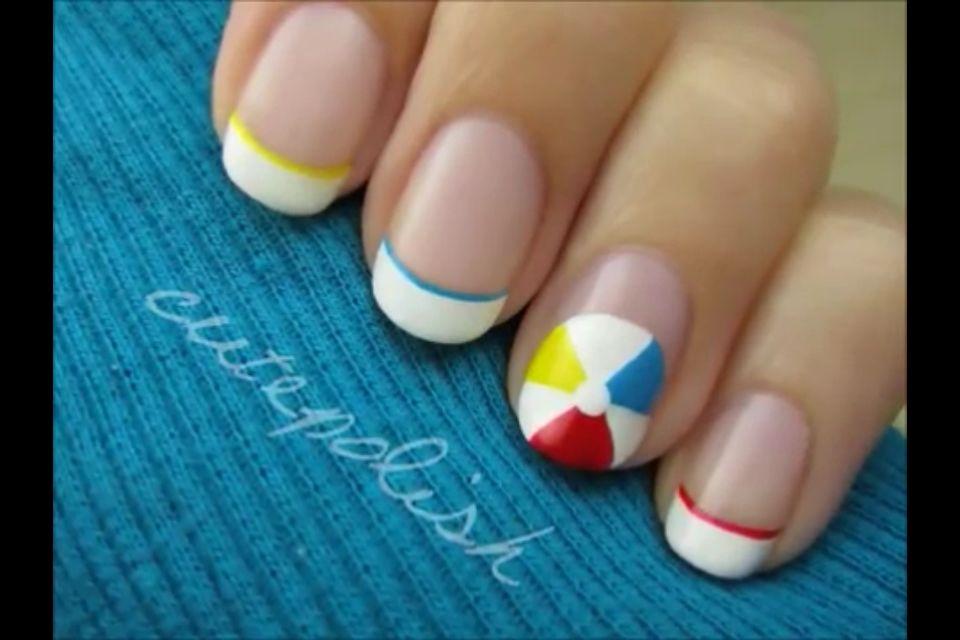 beach ball nails (: