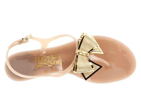 Salvatore Ferragamo gold bow sandals