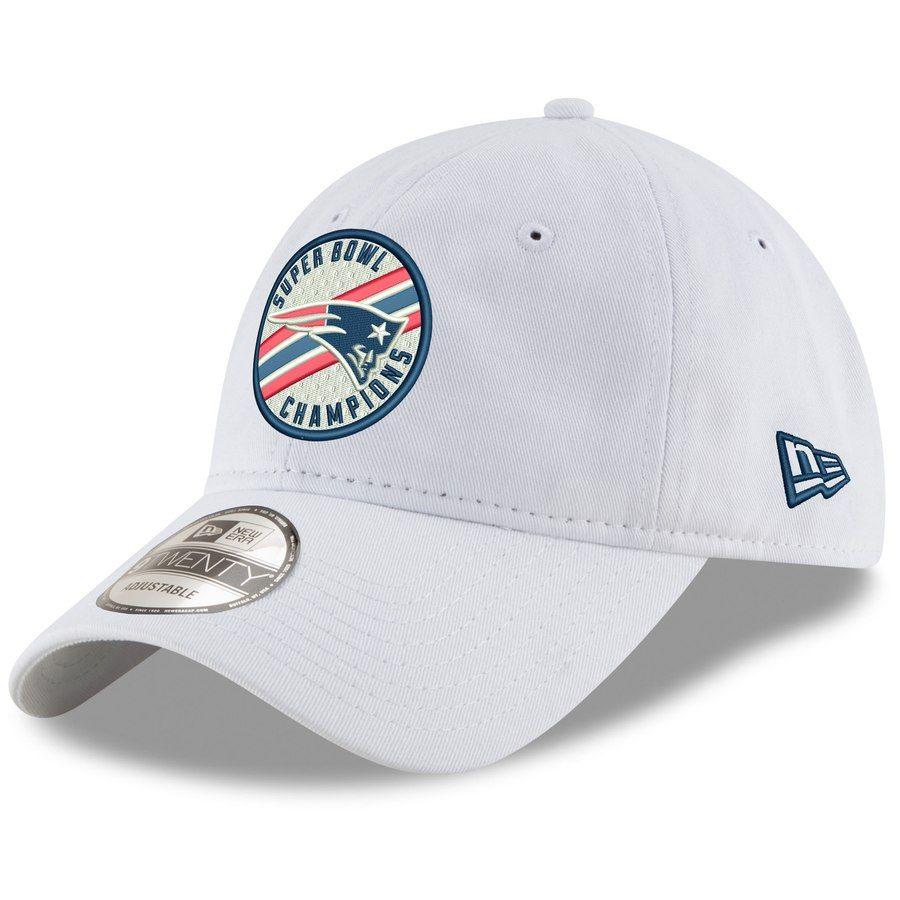Men s New England Patriots New Era White Super Bowl LIII Champions Circle  Stripe 9TWENTY Adjustable Hat 6a3defd4f1eb