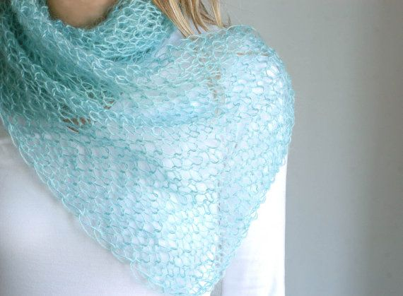 Photo of Mohair wool knitted wide scarf in aquamarine blue – luxury light cozy fluffy warm – gifts for her under 50