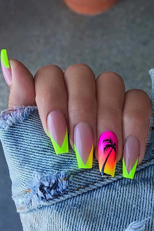 65 Cute Stylish Summer Nails For 2020 Page 4 Of 5 Stayglam Tree Nails Palm Tree Nails Bright Summer Acrylic Nails