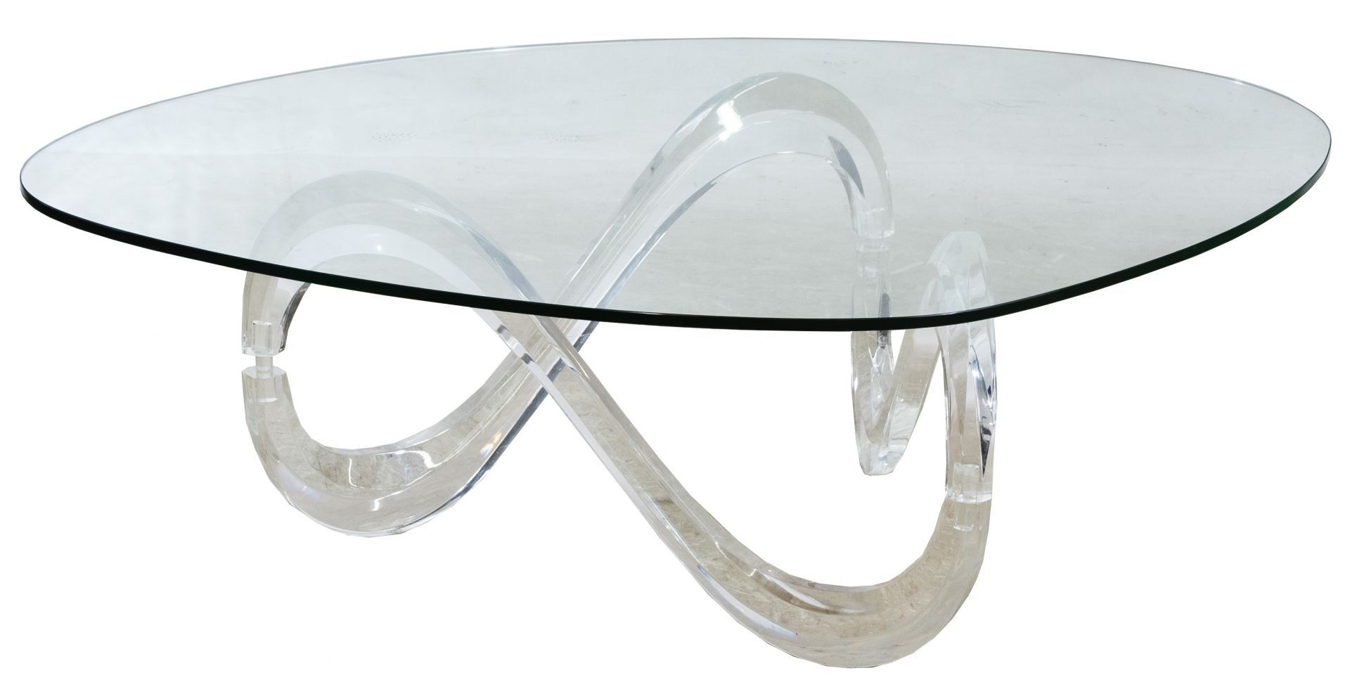 Lot 67 Mcm Style Lucite And Glass Coffee Table Having Undulating Lucite Legs Holding A Rounded Triangular Glass T Coffee Table Glass Coffee Table Lucite Legs [ 987 x 1920 Pixel ]