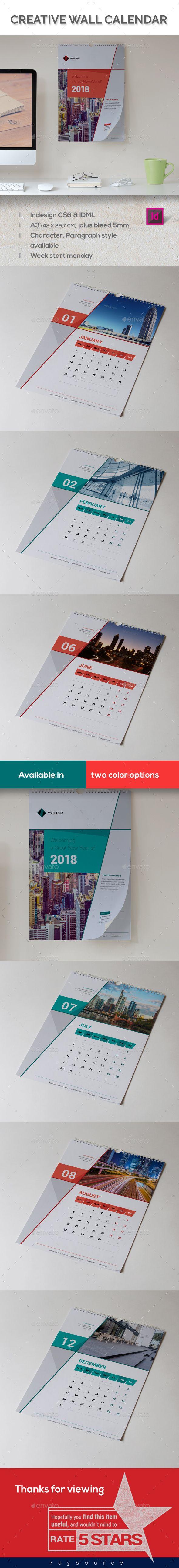 Corporate Wall Calender 2018 | Pinterest