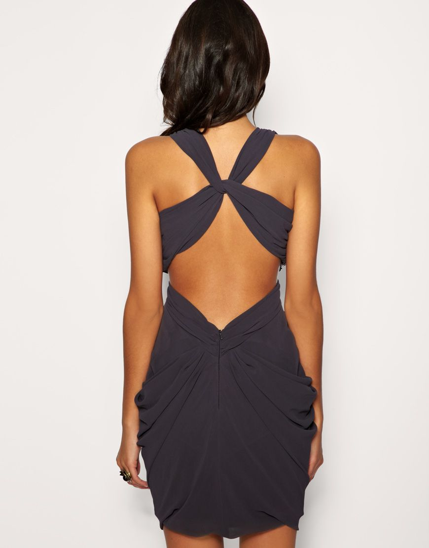 Lipsy lipsy dress with cut out back and embellished waist at asos