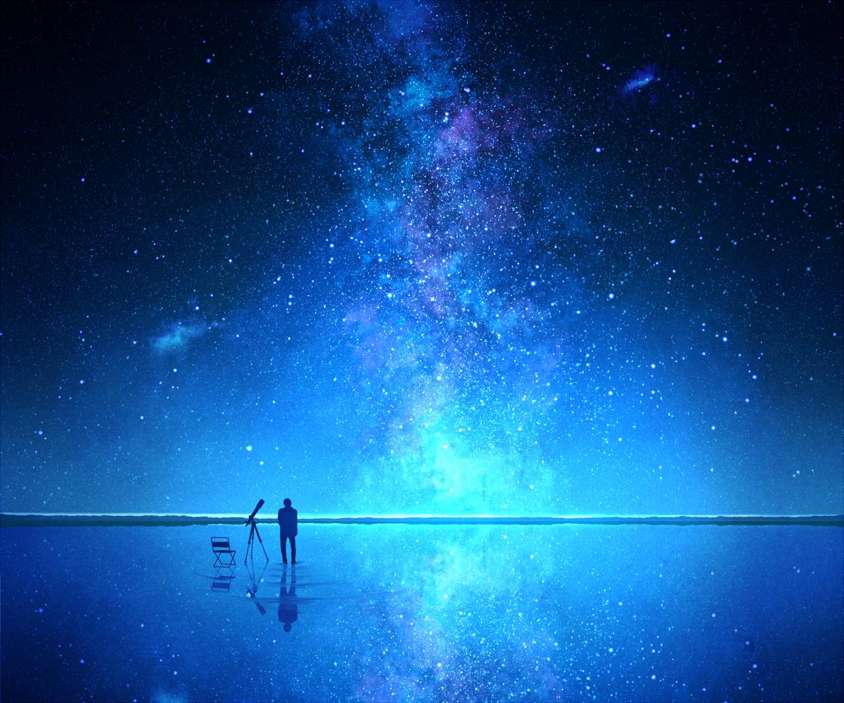 Reflective Lake Stars Anime Scenery Anime Background Art