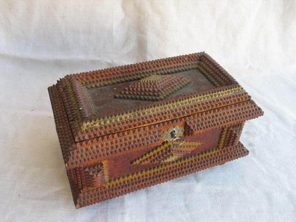 Early 1900 Tramp Art Jewelry Box.