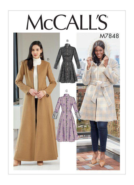 Mccalls Sewing Patterns Coat Pattern, Long Winter Coat Sewing Pattern