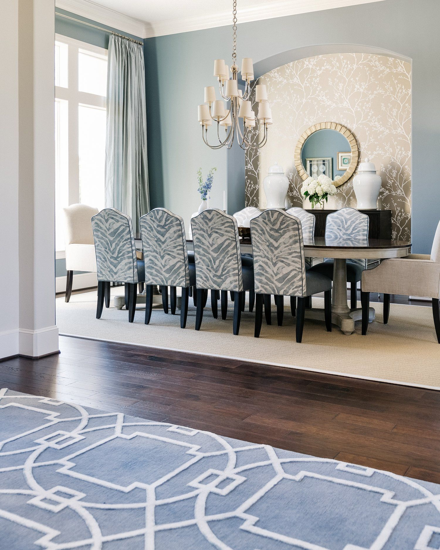 Project Reveal An Elegant Dining Room With A Fresh New Look Designed Dining Room Blue Elegant Dining Room Luxury Dining Room
