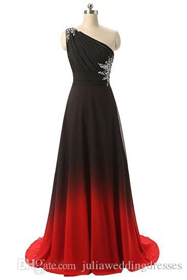 6fac91cb581 2017 New Gradient Chiffon One Shoulder Long Prom Dresses Beaded Floor-Length  Evening Formal Long Party Gown QC438 Evening Dress Prom Dresses Celebrity  ...