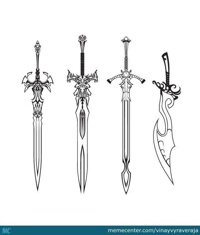 Awesome Sword Drawings Some Swords For You O Try To Color First Time Using Sword Drawing Weapon Concept Art Guns Drawing