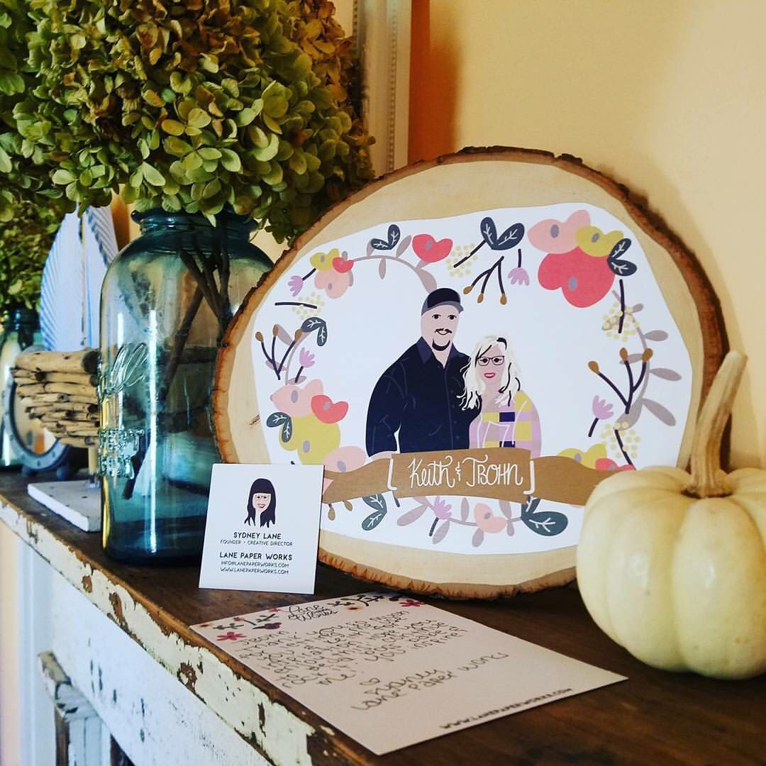Custom illustration on a wood slice - shop now to have your family turned into an illustration!
