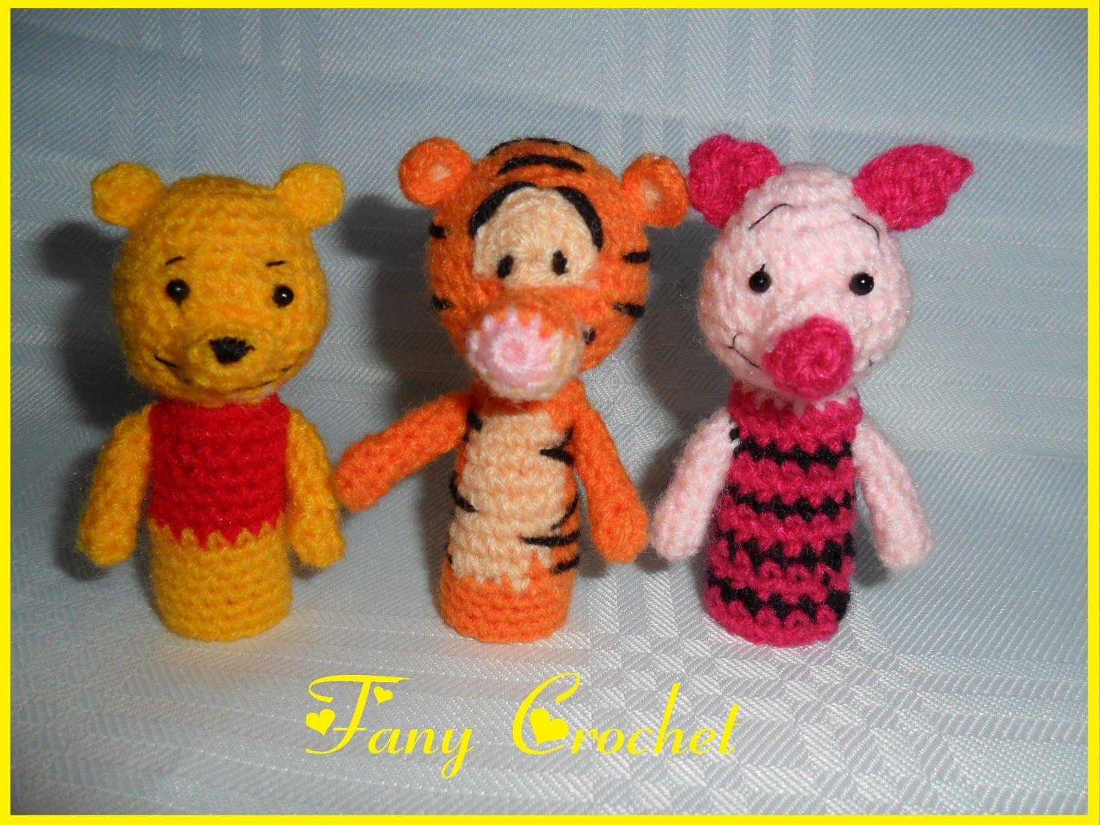 Amigurumi Crochet Personajes : Títeres de dedos personajes de winnie the pooh pooh tiger y