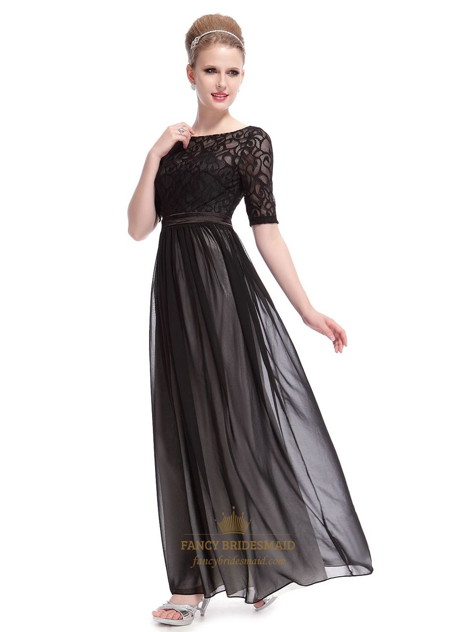 Elegant Black Dresses With Lace Long Sleeves Overlay Long Black Maxi Dress With Sleeves Maxi Dress Wedding Long Black Maxi Dress Black Lace Bridesmaid Dress [ 1280 x 960 Pixel ]