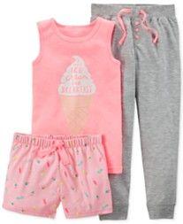 Carter's Girls' or Little Girls' 3-Piece Ice Cream Pajamas