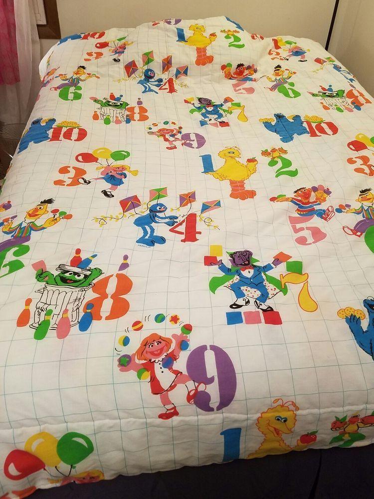 Vintage Sesame Street Quilted Bedspread Big Bird Count Numbers