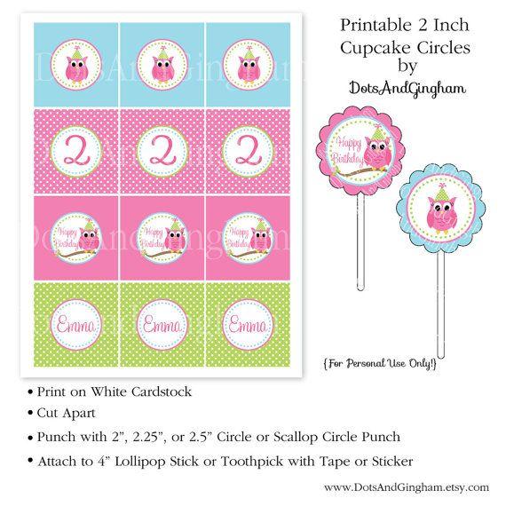 owl cupcake toppers printable 2 inch owl by dotsandgingham 8 00 rh pinterest com