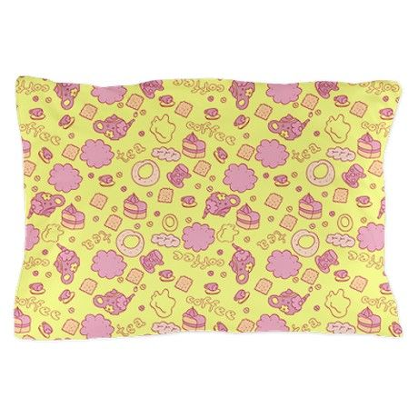 Tea pattern on yellow background Pillow Case on CafePress.com