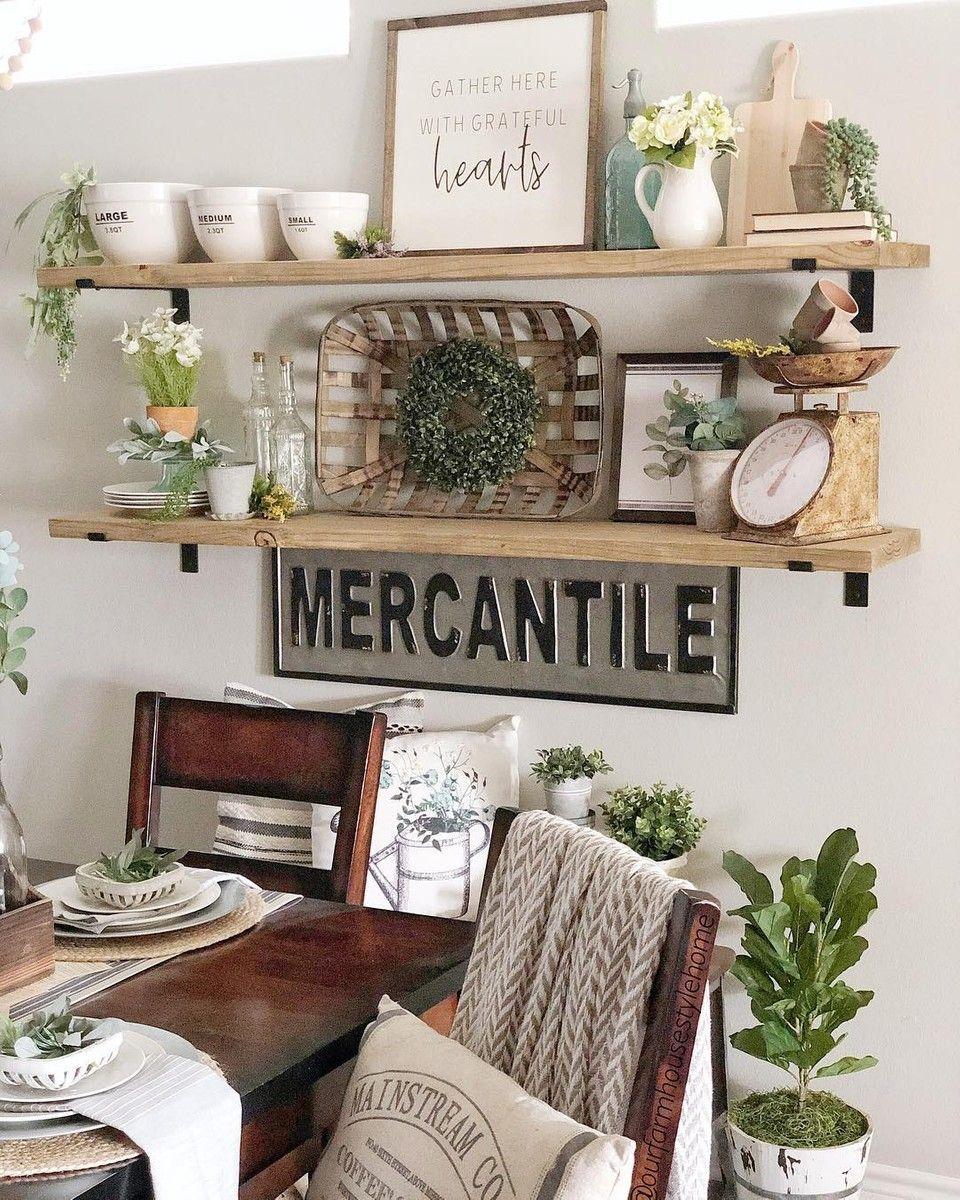Tobacco Baskets Farmhouse Shelves Dining Room Wall Decor Cheap Room Decor #rustic #farmhouse #farmhouse #living #room