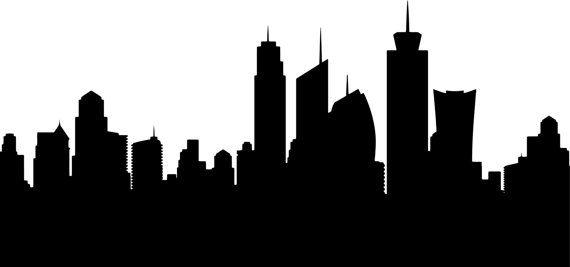 City Skyline Mural City Decal City Skyline Wall By Respectprinting Skyline Silhouette Building Silhouette City Skyline Silhouette