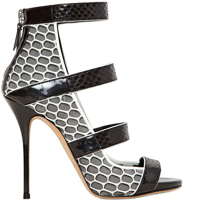 Casadei Resort 2014 Snakeskin, Mesh & Leather Strappy Sandal - Buy Online - Designer Sandals
